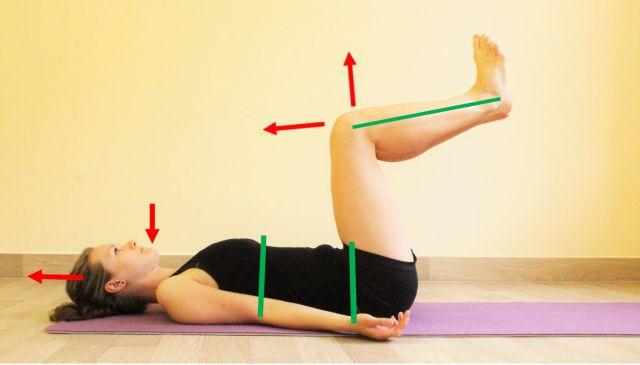 Pozice dítěte ve 3 měsíci na zádech s ukázkou jednotlivých komponent směru pohybu